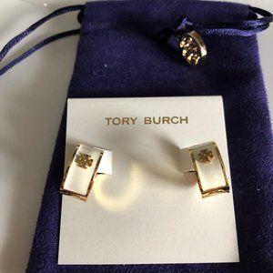 Tory Burch Kira Enamel Huggie Hoop Earrings Ivory